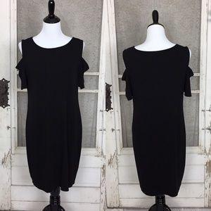 WHBM Cold Shoulder Black Knit Dress Size Large